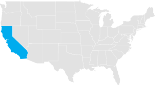 California highlighted on a US map
